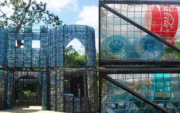 3 casas hechas con plástico reciclado